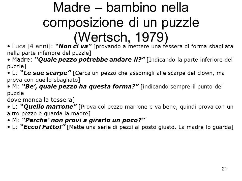 """21 Madre – bambino nella composizione di un puzzle (Wertsch, 1979) Luca [4 anni]: """"Non ci va"""" [provando a mettere una tessera di forma sbagliata nell"""