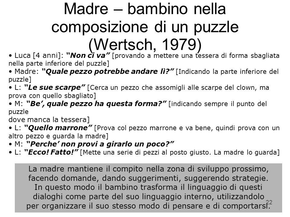 """22 Madre – bambino nella composizione di un puzzle (Wertsch, 1979) Luca [4 anni]: """"Non ci va"""" [provando a mettere una tessera di forma sbagliata nell"""