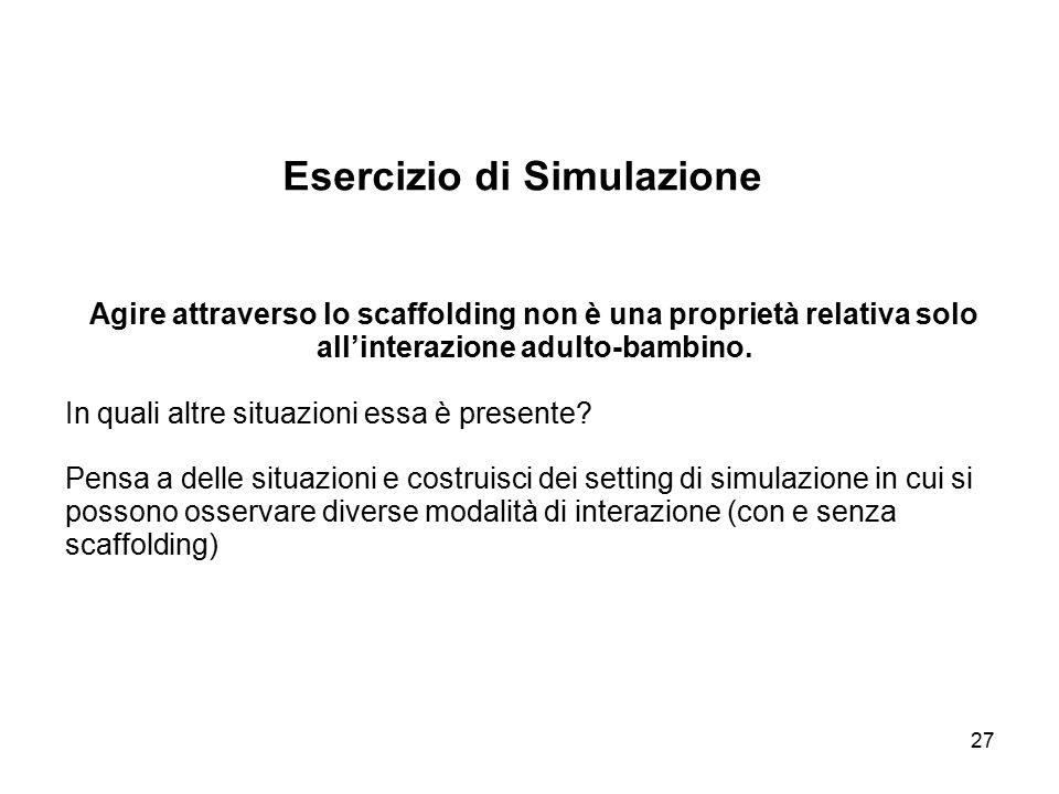 27 Esercizio di Simulazione Agire attraverso lo scaffolding non è una proprietà relativa solo all'interazione adulto-bambino. In quali altre situazion