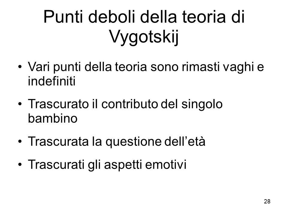 28 Punti deboli della teoria di Vygotskij Vari punti della teoria sono rimasti vaghi e indefiniti Trascurato il contributo del singolo bambino Trascur