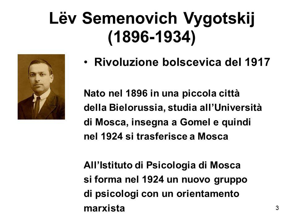 3 Lëv Semenovich Vygotskij (1896-1934) Rivoluzione bolscevica del 1917 Nato nel 1896 in una piccola città della Bielorussia, studia all'Università di
