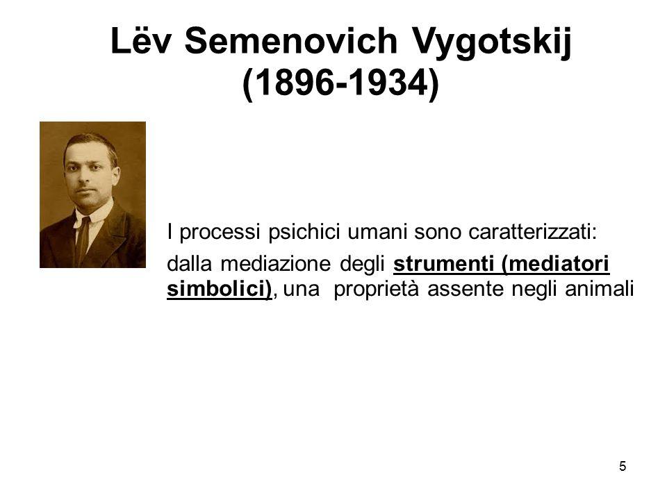 5 Lëv Semenovich Vygotskij (1896-1934) I processi psichici umani sono caratterizzati: dalla mediazione degli strumenti (mediatori simbolici), una pro