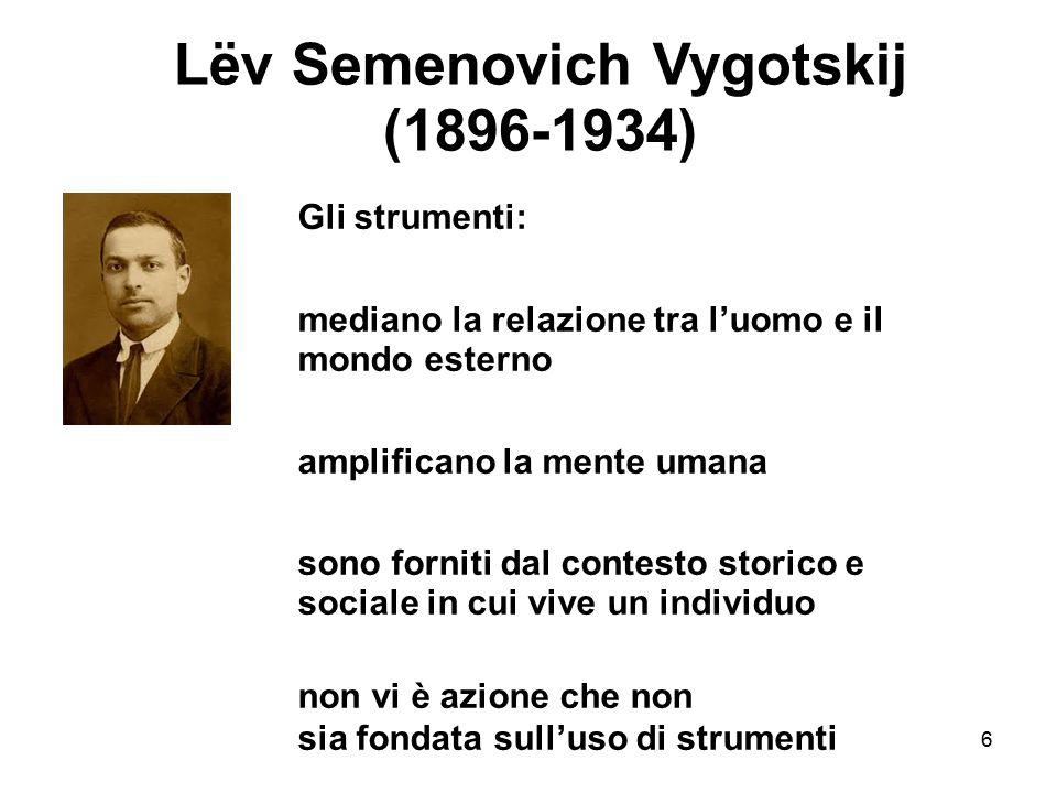 6 Lëv Semenovich Vygotskij (1896-1934) Gli strumenti: mediano la relazione tra l'uomo e il mondo esterno amplificano la mente umana sono forniti dal