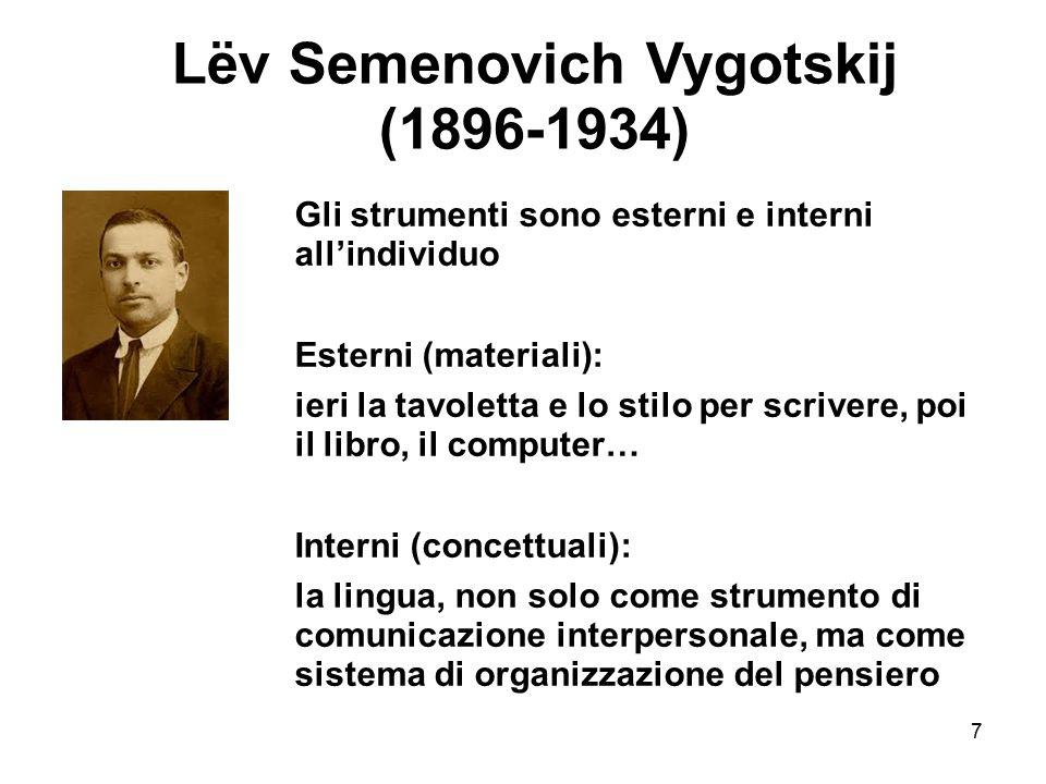 7 Lëv Semenovich Vygotskij (1896-1934) Gli strumenti sono esterni e interni all'individuo Esterni (materiali): ieri la tavoletta e lo stilo per scriv