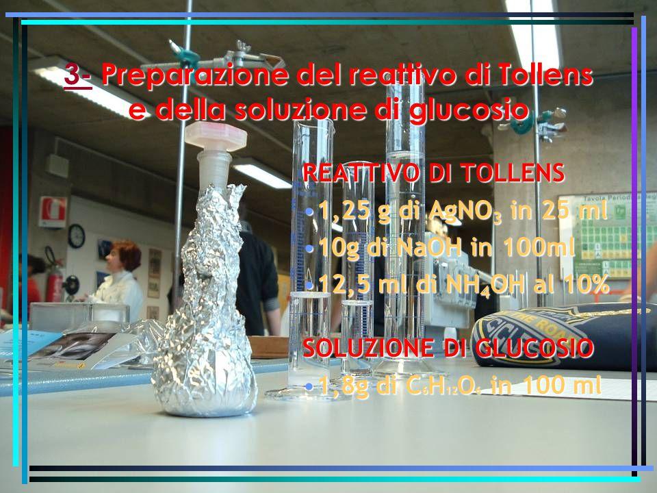 3-Preparazione del reattivo di Tollens e della soluzione di glucosio 3- Preparazione del reattivo di Tollens e della soluzione di glucosio REATTIVO DI TOLLENS 1,25 g di AgNO 3 in 25 ml1,25 g di AgNO 3 in 25 ml 10g di NaOH in 100ml10g di NaOH in 100ml 12,5 ml di NH 4 OH al 10%12,5 ml di NH 4 OH al 10% SOLUZIONE DI GLUCOSIO 1,8g di C 6 H 12 O 6 in 100 ml1,8g di C 6 H 12 O 6 in 100 ml