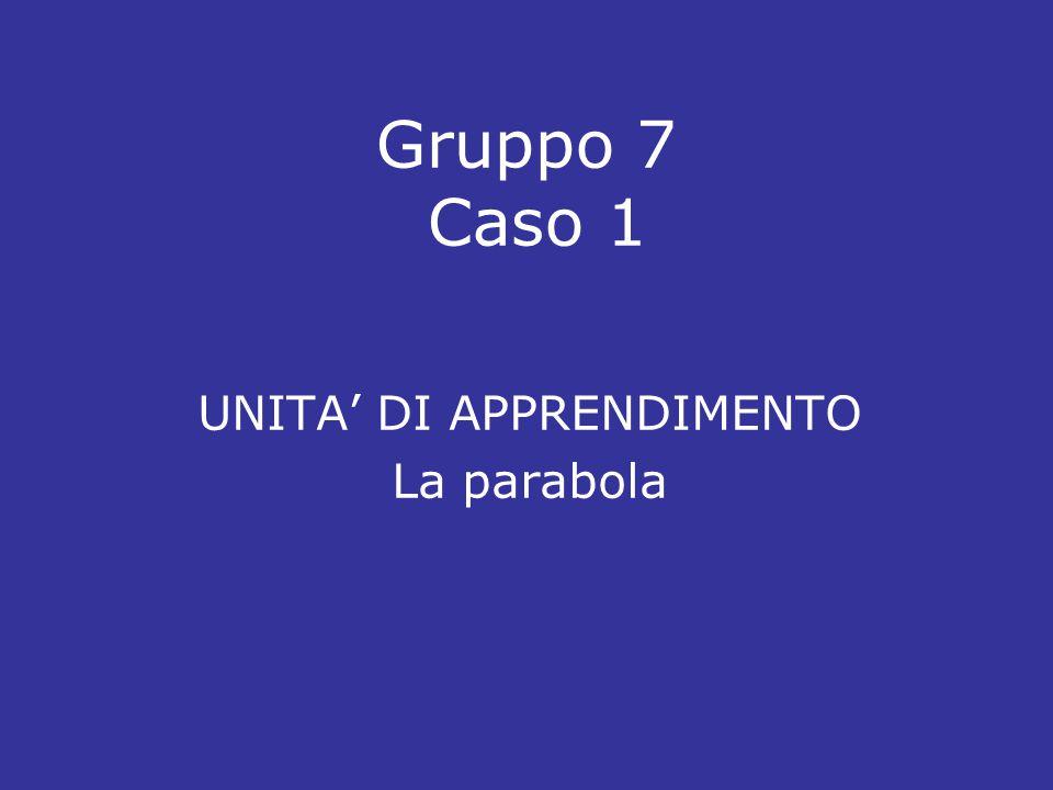 Gruppo 7 Caso 1 UNITA' DI APPRENDIMENTO La parabola
