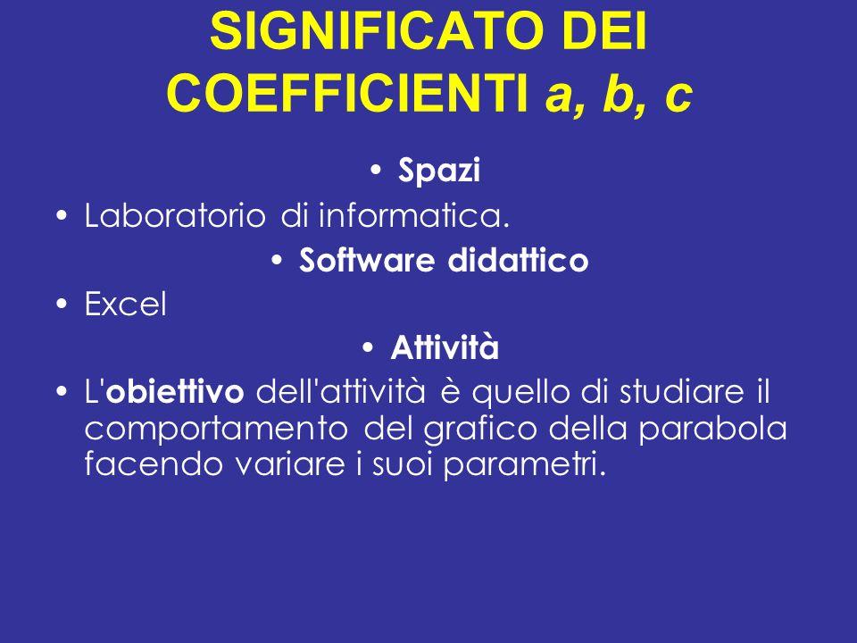 SIGNIFICATO DEI COEFFICIENTI a, b, c Spazi Laboratorio di informatica. Software didattico Excel Attività L' obiettivo dell'attività è quello di studia