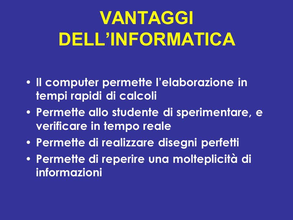 VANTAGGI DELL'INFORMATICA Il computer permette l'elaborazione in tempi rapidi di calcoli Permette allo studente di sperimentare, e verificare in tempo