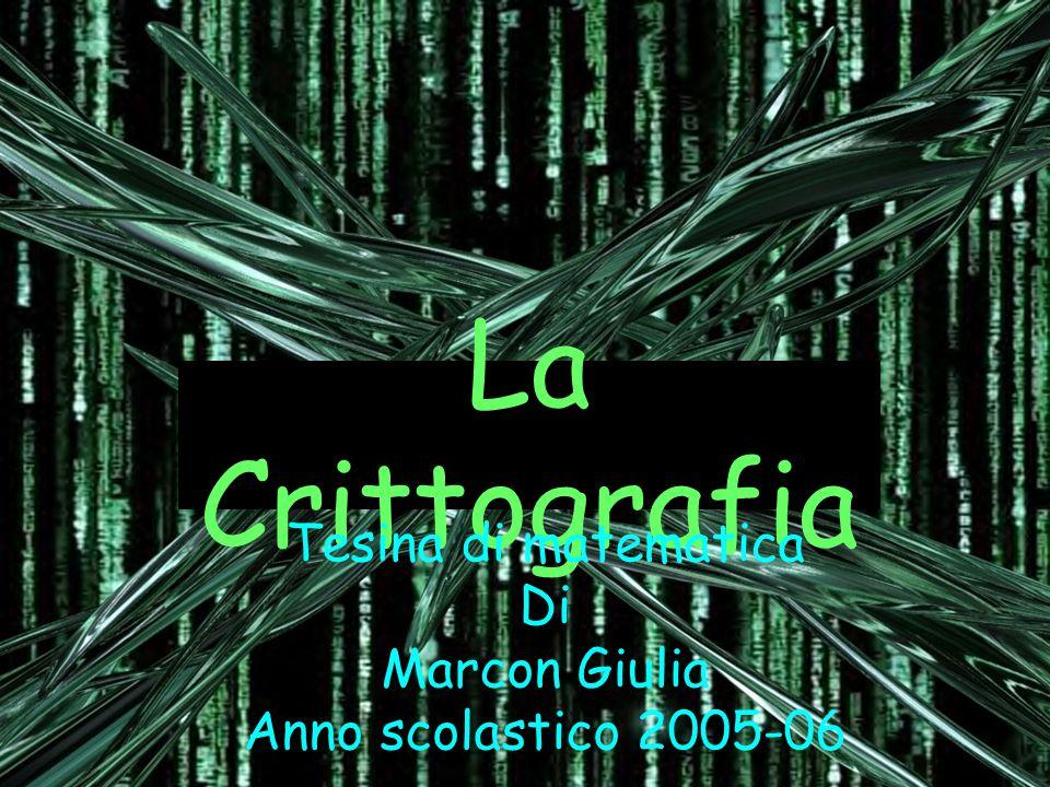 La Crittografia Tesina di matematica Di Marcon Giulia Anno scolastico 2005-06