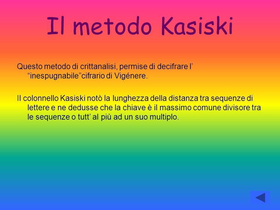 """Il metodo Kasiski Questo metodo di crittanalisi, permise di decifrare l' """"inespugnabile""""cifrario di Vigénere. Il colonnello Kasiski notò la lunghezza"""