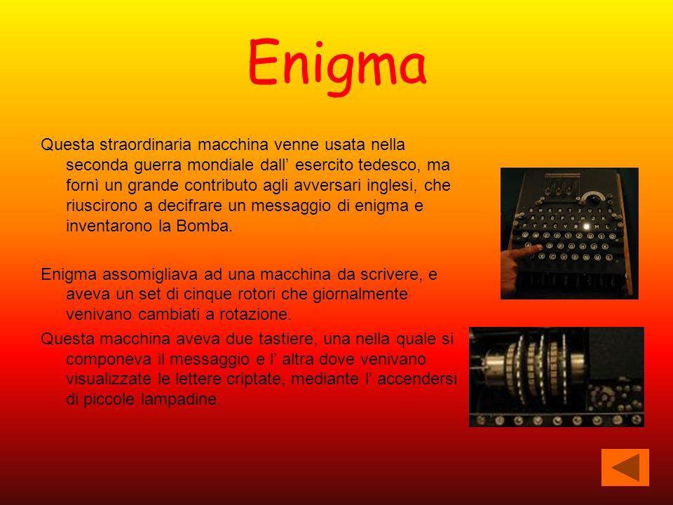 Enigma Questa straordinaria macchina venne usata nella seconda guerra mondiale dall' esercito tedesco, ma fornì un grande contributo agli avversari in