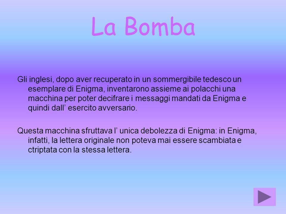 La Bomba Gli inglesi, dopo aver recuperato in un sommergibile tedesco un esemplare di Enigma, inventarono assieme ai polacchi una macchina per poter d