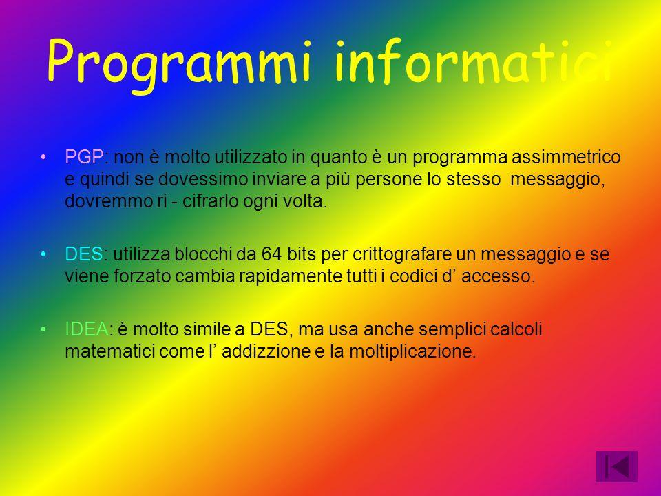 Programmi informatici PGP: non è molto utilizzato in quanto è un programma assimmetrico e quindi se dovessimo inviare a più persone lo stesso messaggi