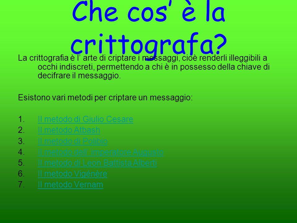 Che cos' è la crittografa? La crittografia è l' arte di criptare i messaggi, cioè renderli illeggibili a occhi indiscreti, permettendo a chi è in poss