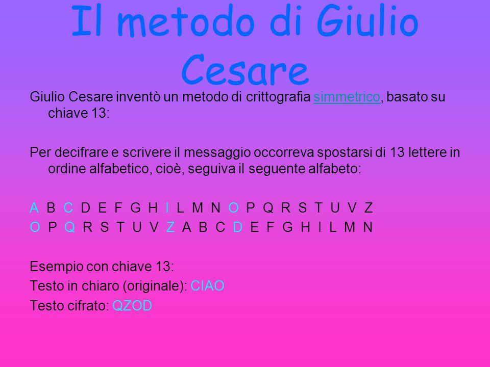 Il metodo di Giulio Cesare Giulio Cesare inventò un metodo di crittografia simmetrico, basato su chiave 13: Per decifrare e scrivere il messaggio occo