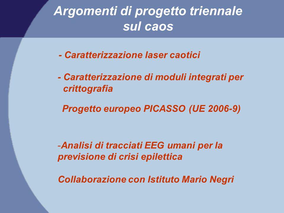 Argomenti di progetto triennale sul caos Progetto europeo PICASSO (UE 2006-9) - Caratterizzazione laser caotici - Caratterizzazione di moduli integrat