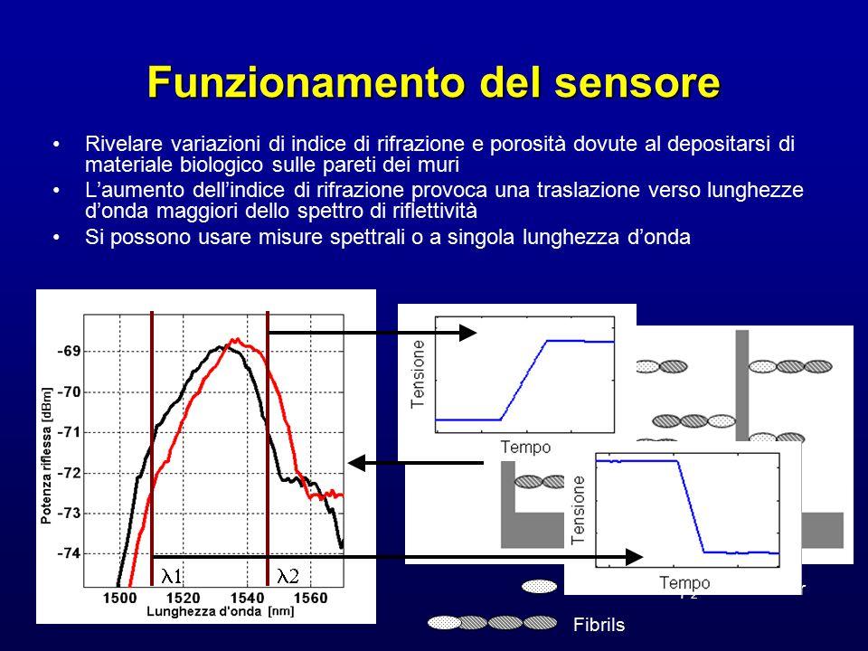 Funzionamento del sensore Rivelare variazioni di indice di rifrazione e porosità dovute al depositarsi di materiale biologico sulle pareti dei muri L'