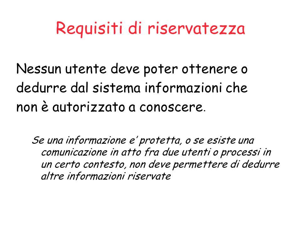 Requisiti di riservatezza Nessun utente deve poter ottenere o dedurre dal sistema informazioni che non è autorizzato a conoscere.