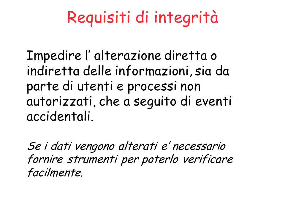 Requisiti di integrità Impedire l' alterazione diretta o indiretta delle informazioni, sia da parte di utenti e processi non autorizzati, che a seguito di eventi accidentali.