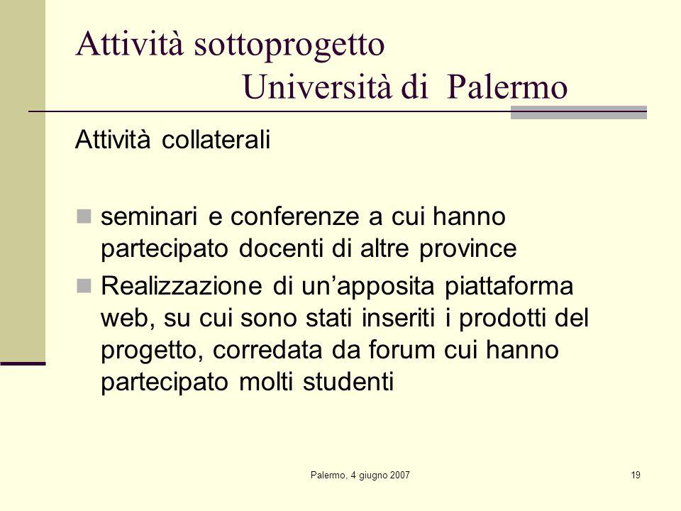 Palermo, 4 giugno 200719 Attività sottoprogetto Università di Palermo Attività collaterali seminari e conferenze a cui hanno partecipato docenti di altre province Realizzazione di un'apposita piattaforma web, su cui sono stati inseriti i prodotti del progetto, corredata da forum cui hanno partecipato molti studenti