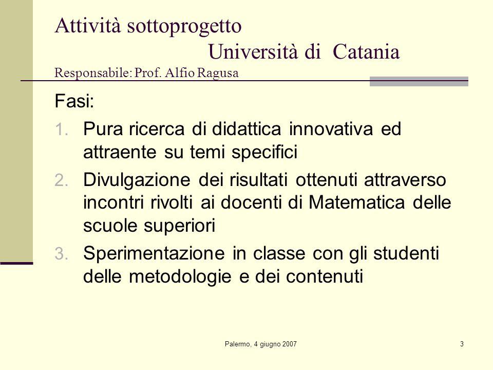 Palermo, 4 giugno 20073 Attività sottoprogetto Università di Catania Responsabile: Prof.