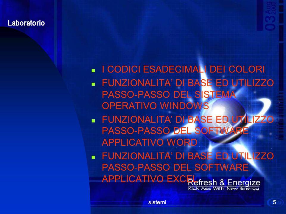 sistemi5 Laboratorio I CODICI ESADECIMALI DEI COLORI FUNZIONALITA' DI BASE ED UTILIZZO PASSO-PASSO DEL SISTEMA OPERATIVO WINDOWS FUNZIONALITA' DI BASE ED UTILIZZO PASSO-PASSO DEL SOFTWARE APPLICATIVO WORD FUNZIONALITA' DI BASE ED UTILIZZO PASSO-PASSO DEL SOFTWARE APPLICATIVO EXCEL