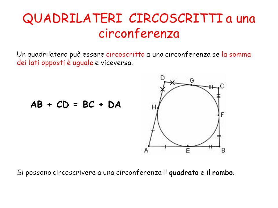 QUADRILATERI CIRCOSCRITTI a una circonferenza Un quadrilatero può essere circoscritto a una circonferenza se la somma dei lati opposti è uguale e viceversa.