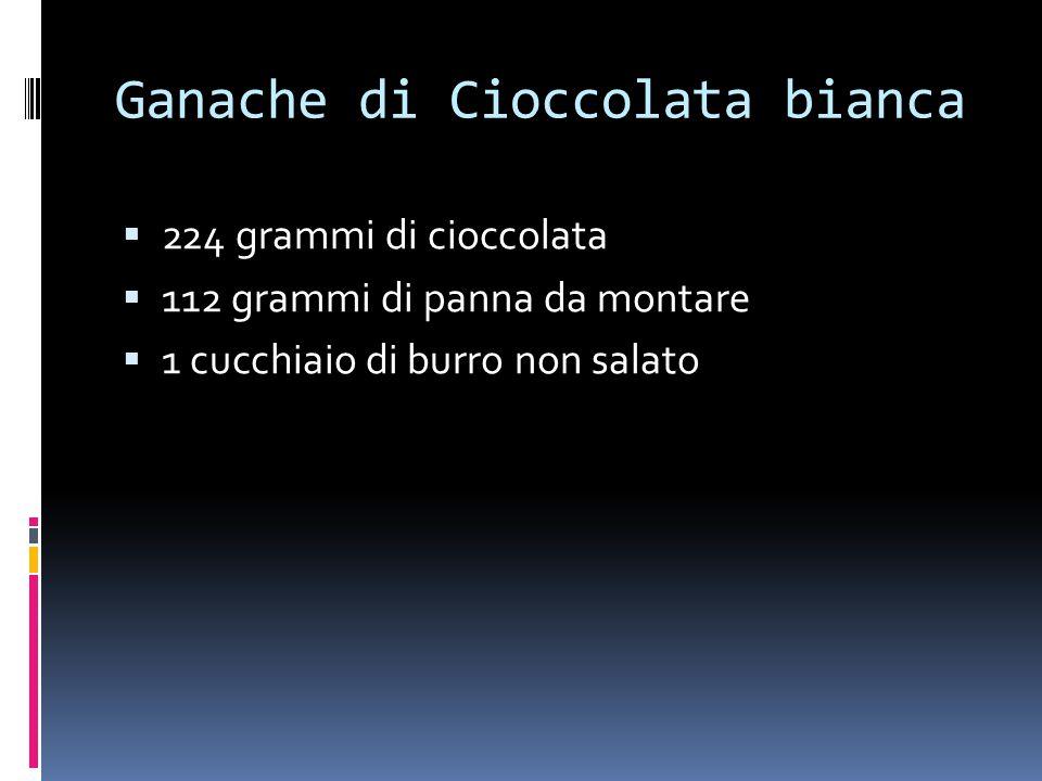 Ganache di Cioccolata bianca  224 grammi di cioccolata  112 grammi di panna da montare  1 cucchiaio di burro non salato