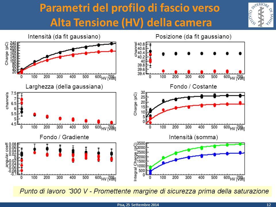 Pisa, 25 Settembre 2014 Parametri del profilo di fascio verso Alta Tensione (HV) della camera 12 Intensità (da fit gaussiano)Posizione (da fit gaussia