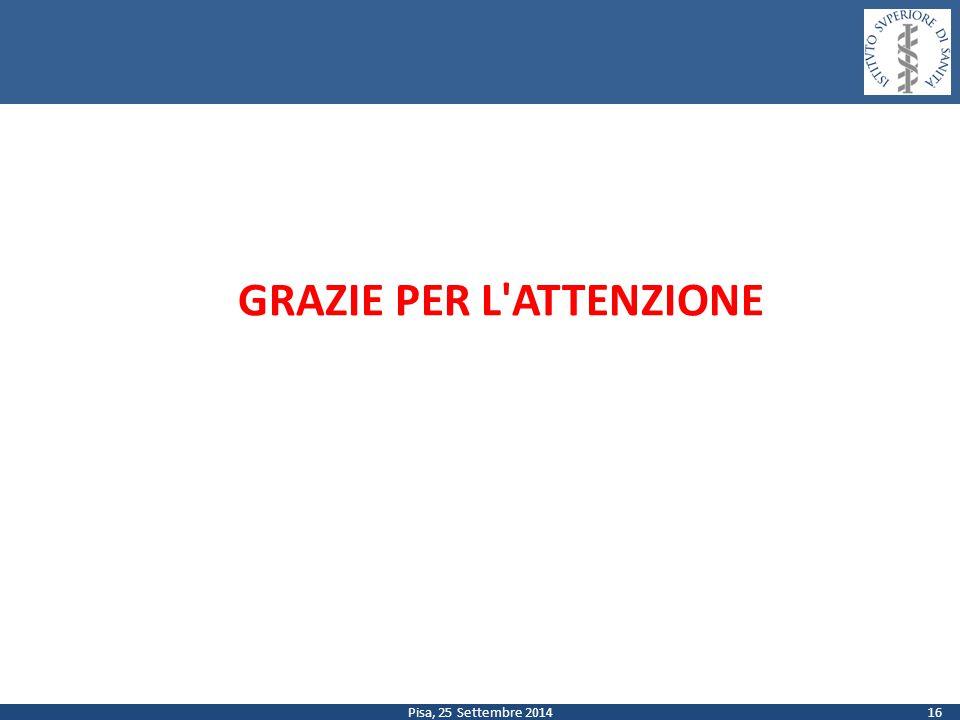 Pisa, 25 Settembre 2014 GRAZIE PER L'ATTENZIONE 16