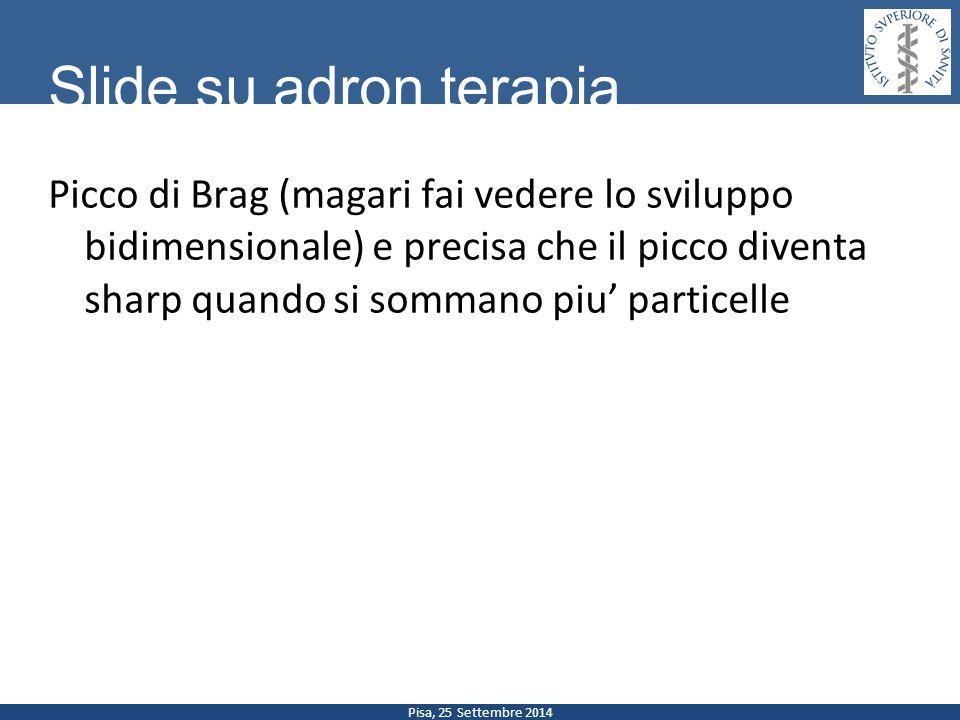 Pisa, 25 Settembre 2014 Slide su adron terapia Picco di Brag (magari fai vedere lo sviluppo bidimensionale) e precisa che il picco diventa sharp quand