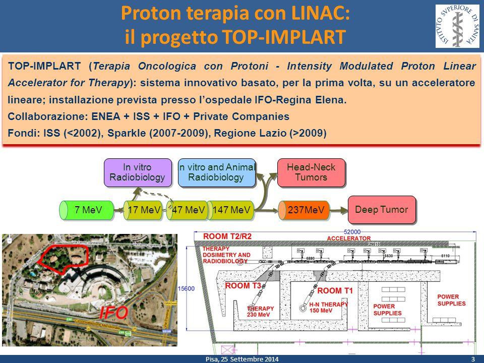 Pisa, 25 Settembre 2014 Proton terapia con LINAC: il progetto TOP-IMPLART TOP-IMPLART (Terapia Oncologica con Protoni - Intensity Modulated Proton Linear Accelerator for Therapy): sistema innovativo basato, per la prima volta, su un acceleratore lineare; installazione prevista presso l'ospedale IFO-Regina Elena.