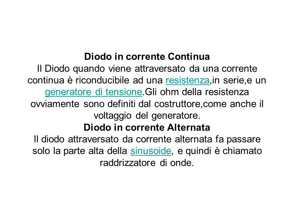 Diodo in corrente Continua Il Diodo quando viene attraversato da una corrente continua è riconducibile ad una resistenza,in serie,e un generatore di t