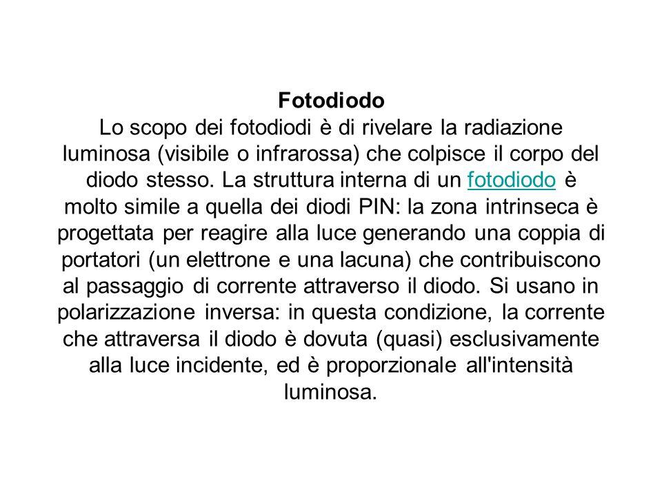Fotodiodo Lo scopo dei fotodiodi è di rivelare la radiazione luminosa (visibile o infrarossa) che colpisce il corpo del diodo stesso.