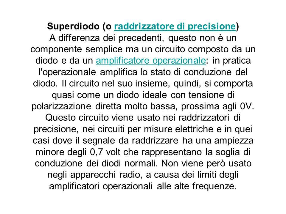 Superdiodo (o raddrizzatore di precisione) A differenza dei precedenti, questo non è un componente semplice ma un circuito composto da un diodo e da u