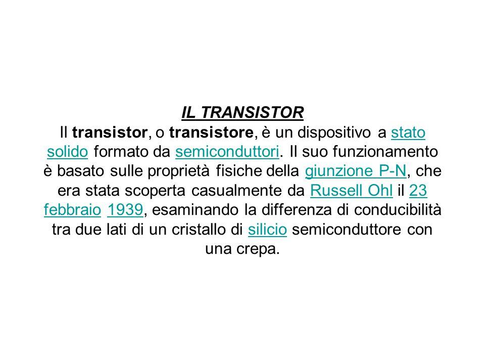 IL TRANSISTOR Il transistor, o transistore, è un dispositivo a stato solido formato da semiconduttori. Il suo funzionamento è basato sulle proprietà f