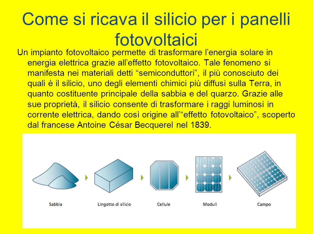 Come si ricava il silicio per i panelli fotovoltaici Un impianto fotovoltaico permette di trasformare l'energia solare in energia elettrica grazie all