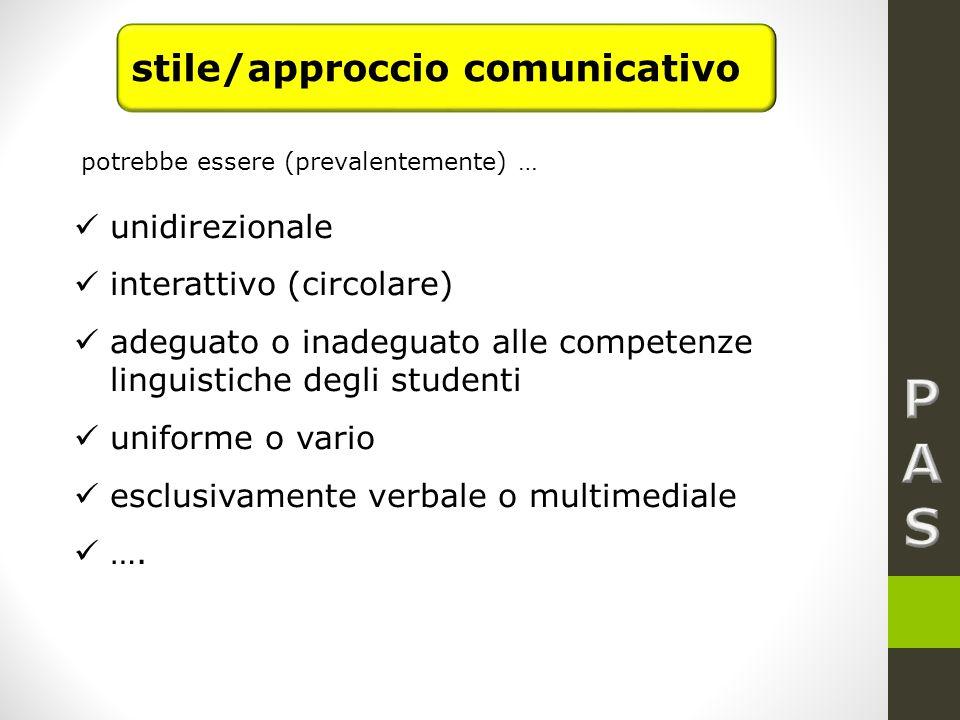 unidirezionale interattivo (circolare) adeguato o inadeguato alle competenze linguistiche degli studenti uniforme o vario esclusivamente verbale o multimediale ….