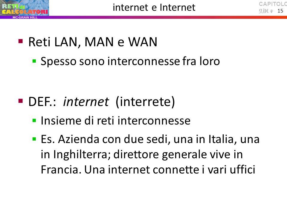 CAPITOLO 1 15 internet e Internet  Reti LAN, MAN e WAN  Spesso sono interconnesse fra loro  DEF.: internet (interrete)  Insieme di reti interconnesse  Es.