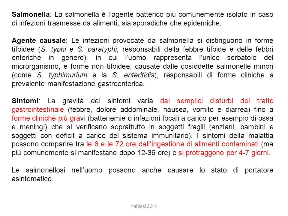 nabissi 2014 Salmonella: La salmonella è l'agente batterico più comunemente isolato in caso di infezioni trasmesse da alimenti, sia sporadiche che epidemiche.