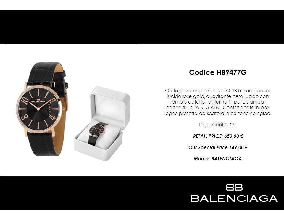 Codice HB9477G Orologio uomo con cassa Ø 38 mm in acciaio lucido rose gold, quadrante nero lucido con ampio datario, cinturino in pelle stampa coccodr