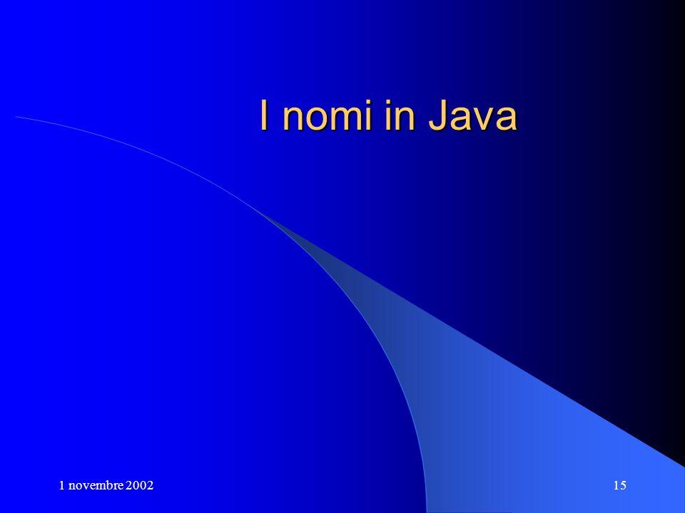1 novembre 200215 I nomi in Java