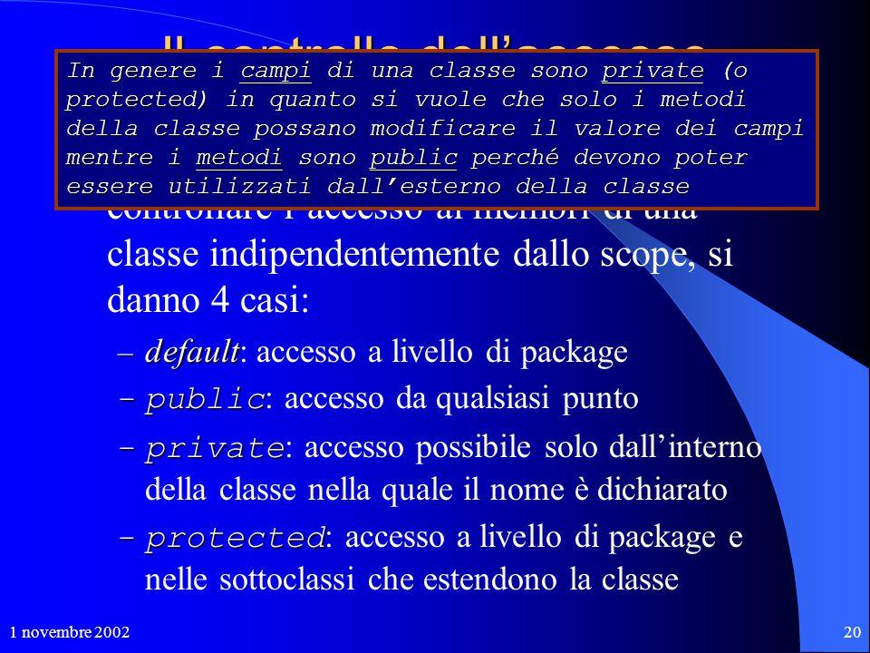 1 novembre 200220 Il controllo dell'accesso nomi qualificati L'uso di nomi qualificati consente di controllare l'accesso ai membri di una classe indip