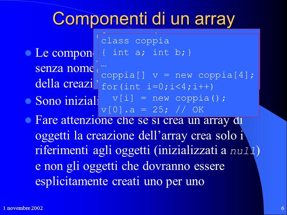 1 novembre 20026 Componenti di un array Le componenti di un array sono variabile senza nome che vengono create al momento della creazione dell'array.
