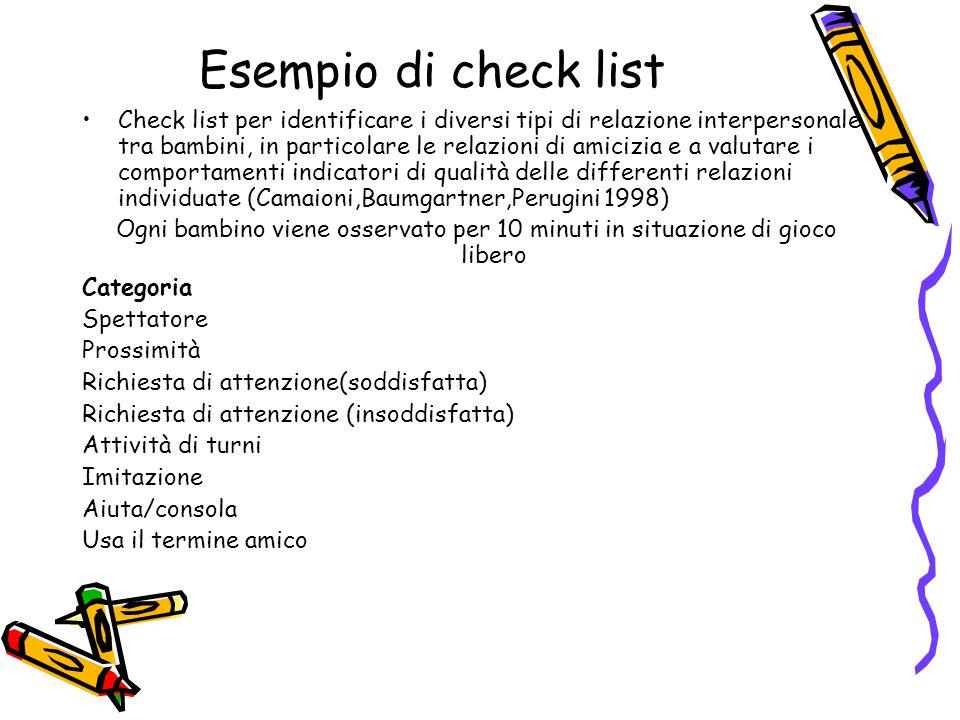 Esempio di check list Check list per identificare i diversi tipi di relazione interpersonale tra bambini, in particolare le relazioni di amicizia e a