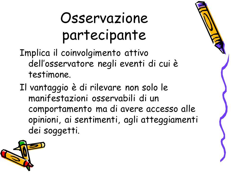 Osservazione partecipante Implica il coinvolgimento attivo dell'osservatore negli eventi di cui è testimone. Il vantaggio è di rilevare non solo le ma