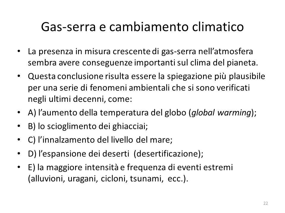 Gas-serra e cambiamento climatico La presenza in misura crescente di gas-serra nell'atmosfera sembra avere conseguenze importanti sul clima del pianet