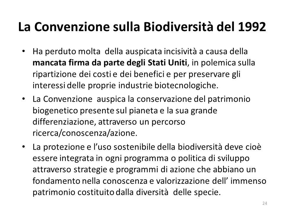 La Convenzione sulla Biodiversità del 1992 Ha perduto molta della auspicata incisività a causa della mancata firma da parte degli Stati Uniti, in pole