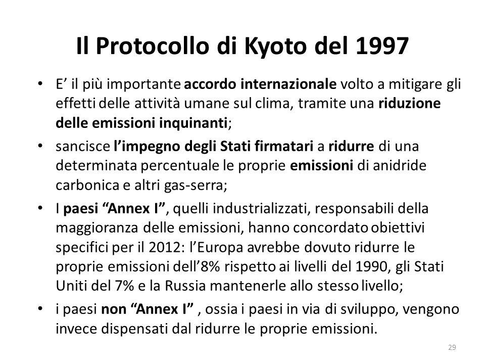 Il Protocollo di Kyoto del 1997 E' il più importante accordo internazionale volto a mitigare gli effetti delle attività umane sul clima, tramite una r