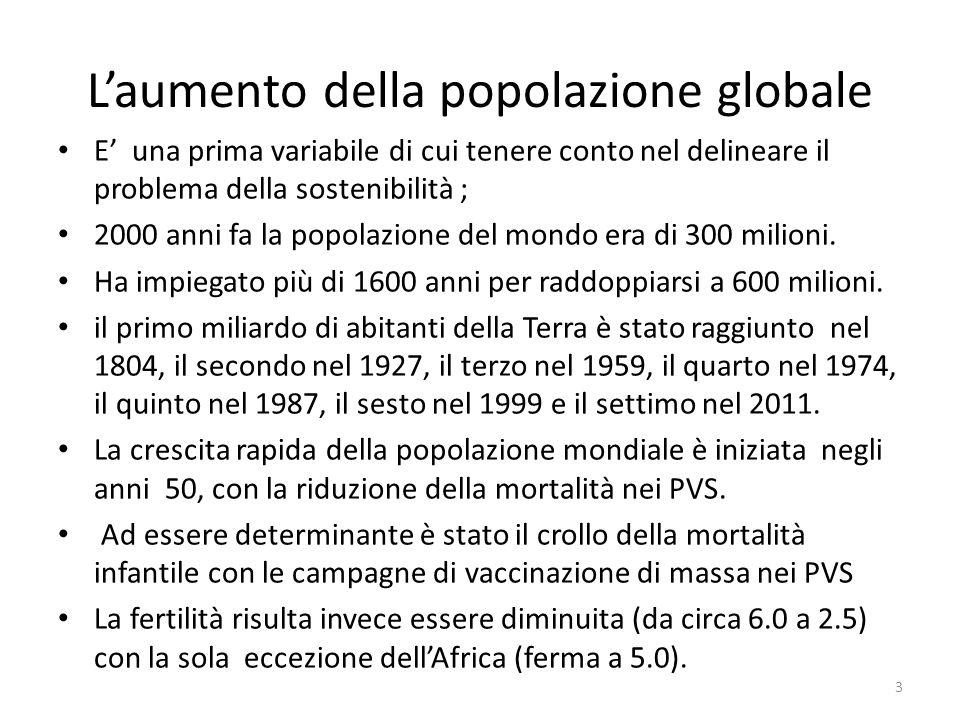 L'aumento della popolazione globale E' una prima variabile di cui tenere conto nel delineare il problema della sostenibilità ; 2000 anni fa la popolaz